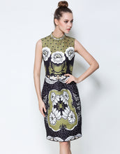 Load image into Gallery viewer, Olive Green Stand Collar Midi Dress
