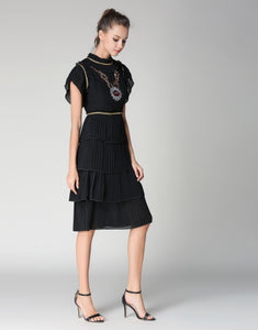 "Comino Couture Black ""Chained Lips"" ruffle dress *WAS £155*"