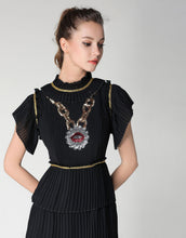 "Load image into Gallery viewer, Comino Couture Black ""Chained Lips"" ruffle dress *WAS £155*"