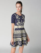 Load image into Gallery viewer, Comino Couture Knitted Blue Skater Dress *WAS £140*