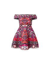 Load image into Gallery viewer, Pink Folk Print Bardot Dress