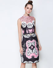 Load image into Gallery viewer, Comino Couture Pink & Black Stand Collar Midi Dress *WAS £170*