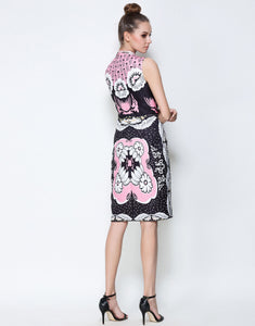 Comino Couture Pink & Black Stand Collar Midi Dress *WAS £170*