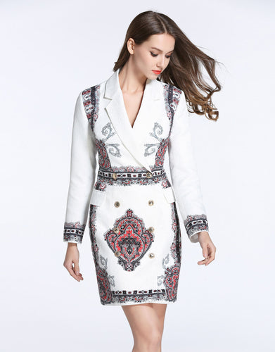 Comino Couture White Blazer Dress