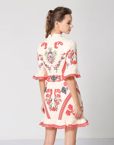 Red & Cream Vintage Peplum Dress