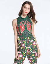 Load image into Gallery viewer, Comino Couture Green / Multi Print Flamingo Jumpsuit *WAS £145*