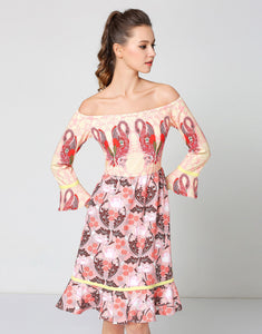 Comino Couture Yellow & Pink Flamingo Bardot Dress *WAS £145*