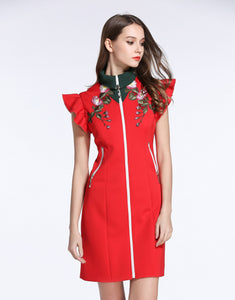Comino Couture Red High Collared Dress *WAS £155*