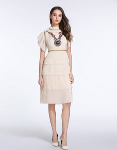 "Comino Couture Cream ""Chained Lips"" Ruffle Dress *WAS £155*"