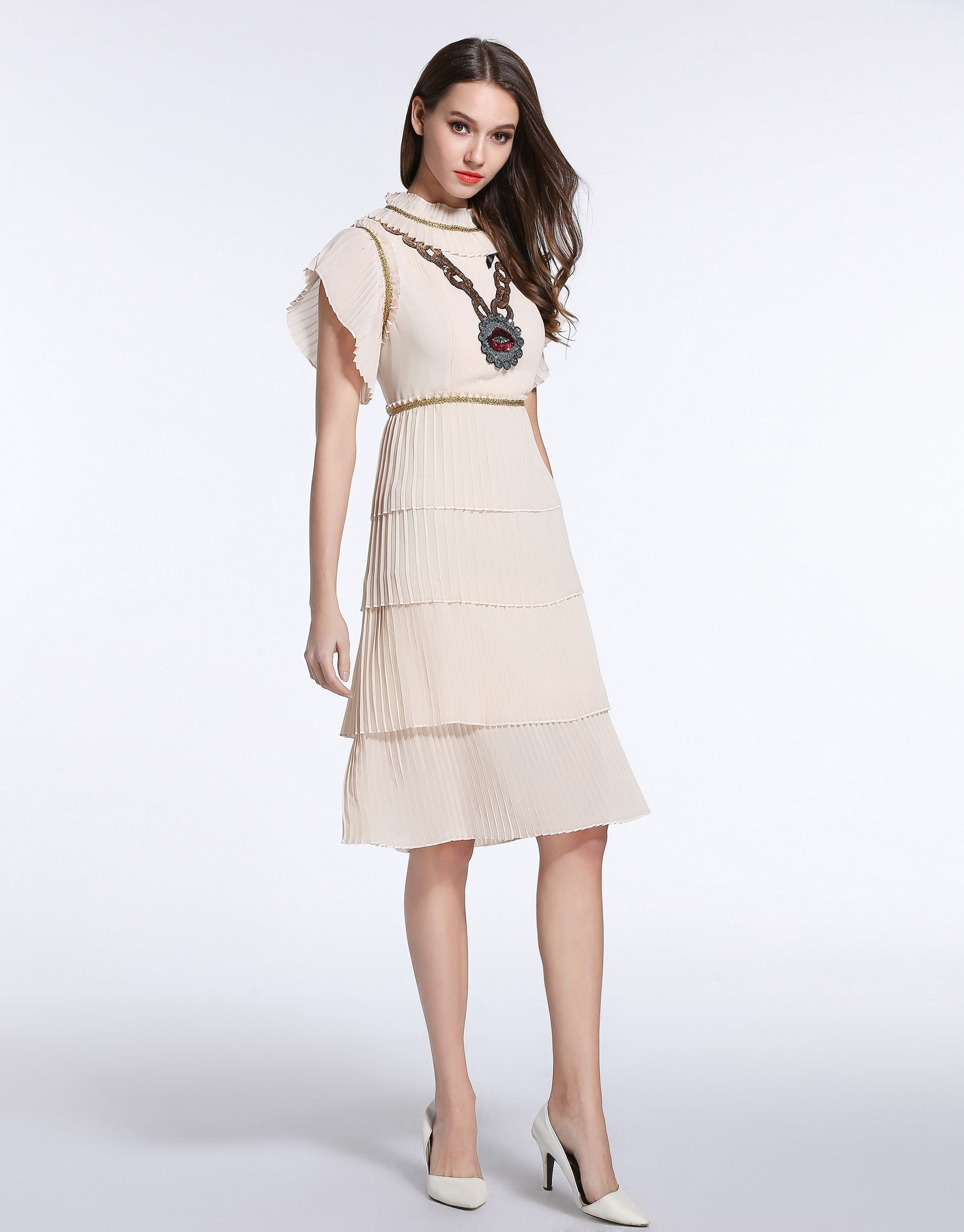 "f97536750adc Comino Couture Cream ""Chained Lips"" Ruffle Dress *WAS £155*"