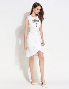 Comino Couture White Wrap Dress with Dragonfly Details *WAS £155*