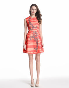 Comino Couture Peach and Pink Contrast Skater Dress *WAS £160*