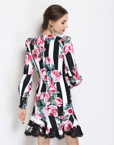 Striped Rose Dress