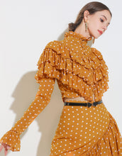 Load image into Gallery viewer, Mustard Polka Dot Two Piece Set