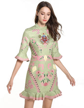 Load image into Gallery viewer, Green and Pink Peplum Dress