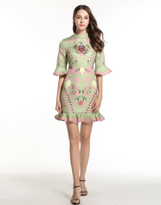 Green and Pink Peplum Dress