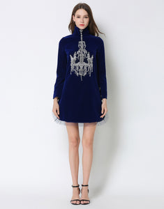 Comino Couture Royal Blue Velvet Chandelier Dress *WAS £185*