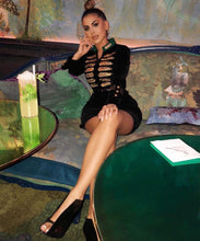 Load image into Gallery viewer, Comino Couture Velvet Military Dress *WAS £180*