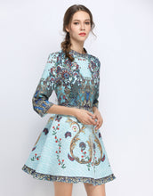 Load image into Gallery viewer, Peacock Skater Dress