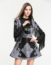 Load image into Gallery viewer, Limited Edition Fringed Black and Grey Vintage Dress *WAS £150*
