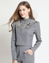 Load image into Gallery viewer, Comino Couture Heavy Embellished Grey Trouser Suit *WAS £250*