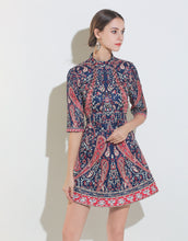 Load image into Gallery viewer, Navy, Red and Cream Beaded Vintage Mini Dress with Sleeves
