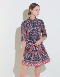 Navy, Red and Cream Beaded Vintage Mini Dress with Sleeves