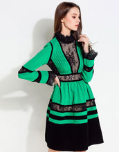 Load image into Gallery viewer, Comino Couture Green / Black Lace High Neck Dress *WAS £160*