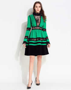 Comino Couture Green / Black Lace High Neck Dress *WAS £160*