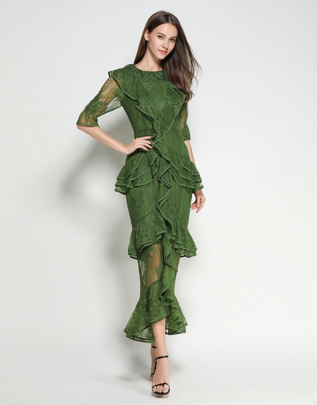 Emerald Lace Ruffle Dress