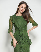 Load image into Gallery viewer, Emerald Lace Ruffle Dress
