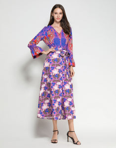 Electric Blue Flamingo Botanical Midi Dress