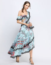 Load image into Gallery viewer, Blue Floral Off-The Shoulder Lace Cascade Dress