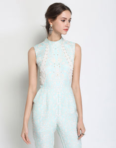 Icicle Pearl Beaded Jumpsuit