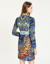 Load image into Gallery viewer, Jungle Fantasy Tiger Striped Collar Blazer Dress