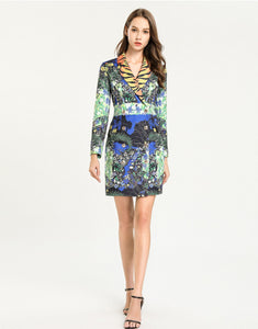 Jungle Fantasy Tiger Striped Collar Blazer Dress