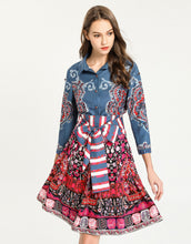 Load image into Gallery viewer, Blue Paisley Mix Floral Striped Tie Dress