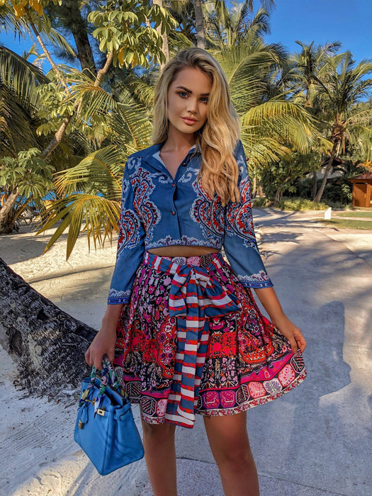 Blue Paisley Mix Floral Striped Tie 2 piece set