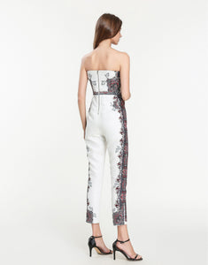 White Bandeau Floral Iron Work Print Jumpsuit
