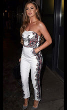 Load image into Gallery viewer, White Bandeau Floral Iron Work Print Jumpsuit