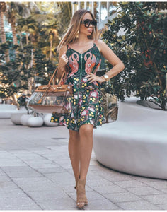 Flamingo Print Tropical Mini Dress