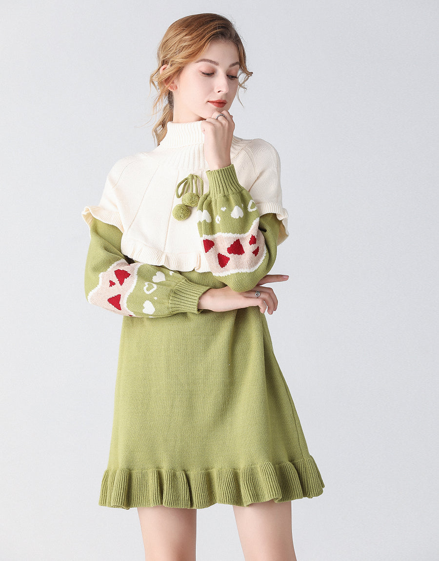 Heart on my sleeve green jumper dress