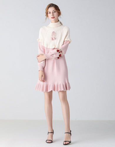 Heart on my sleeve pink jumper dress
