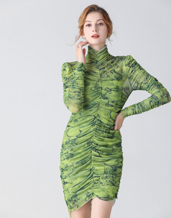 The Green Camouflage ruched bodycon dress