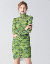 Load image into Gallery viewer, The Green Camouflage ruched bodycon dress