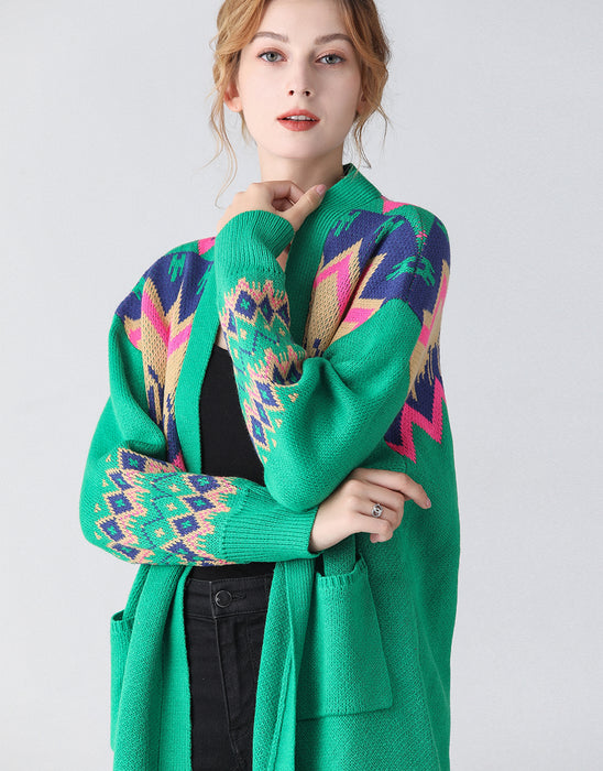 Green retro longline cardigan