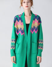 Load image into Gallery viewer, Green retro longline cardigan