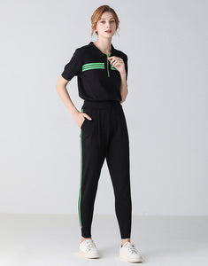Black with green racing stripes lounge set