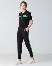 Load image into Gallery viewer, Black with green racing stripes lounge set