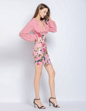 Load image into Gallery viewer, Dusky Pink floral long sleeve mini dress